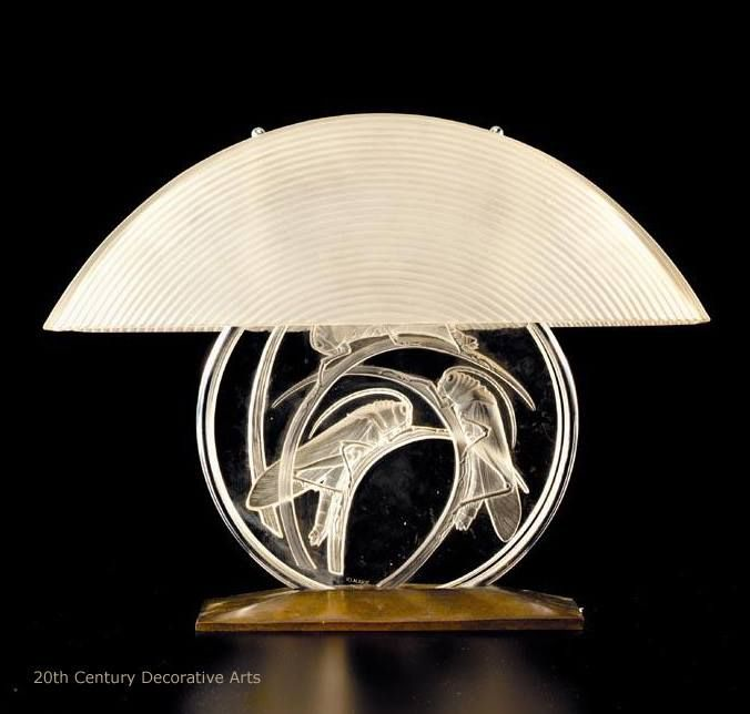 René lalique sauterelles glass and metal table lamp