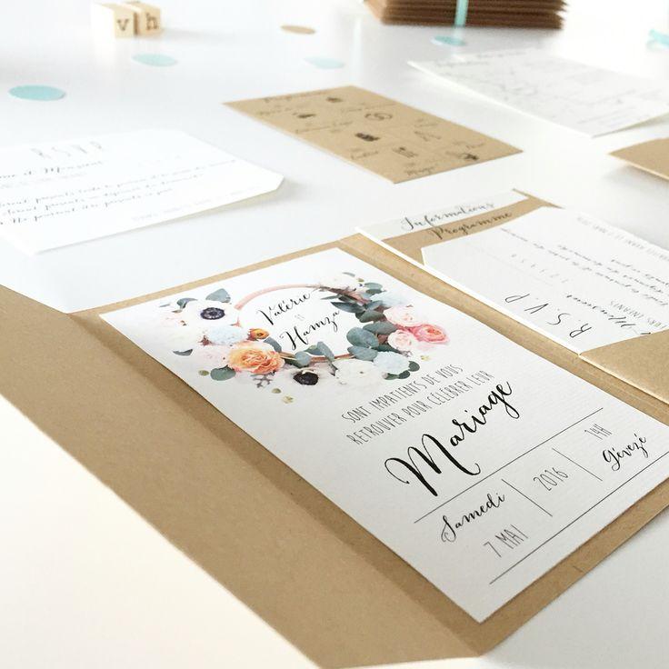 Faire part de mariage kraft & mint avec couronne floral naturelle, pochette à pli / pocketfold, programme, RSVP, informations & plan, ruban satin vert d'eau et enveloppes imprimées