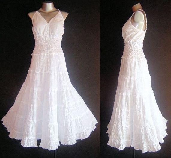 LONG WHITE GYPSY PRINCESS SMOCK DRESS Hippie Boho Size 16 18 20 XL ...