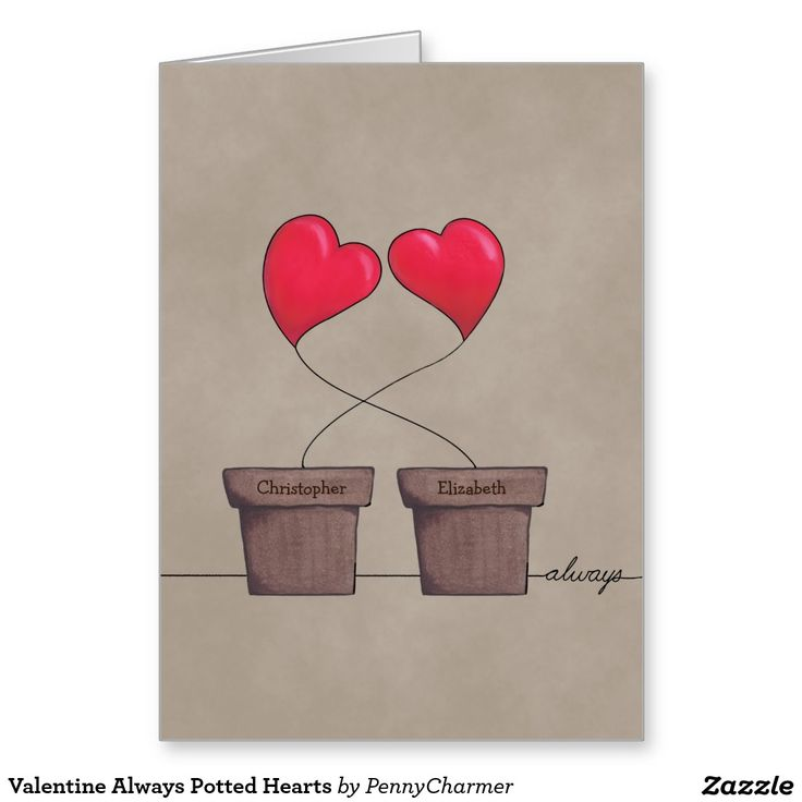 Valentine Always Potted Hearts Greeting Card