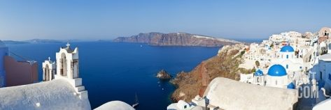Blue Domed Churches in the Village of Oia, Santorini (Thira), Cyclades Islands, Aegean Sea, Greece Photographic Print by Gavin Hellier at Art.co.uk