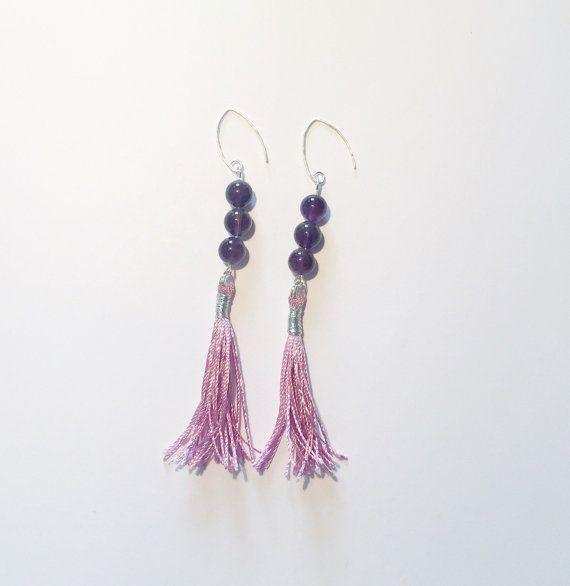 Purple color, amethyst gemstones and .925 sterling silver base, tassel earrings
