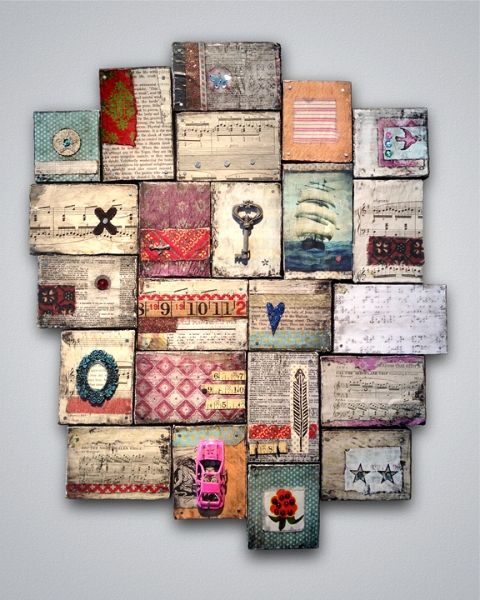 "Love the combination of old wood pieces and vintage-style collage. Easy to personalize and ""dress"" up or down."