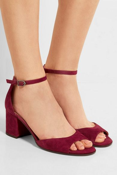 Heel measures approximately 65mm/ 2.5 inches Claret suede Buckle-fastening ankle strap Designer color: Tango Red