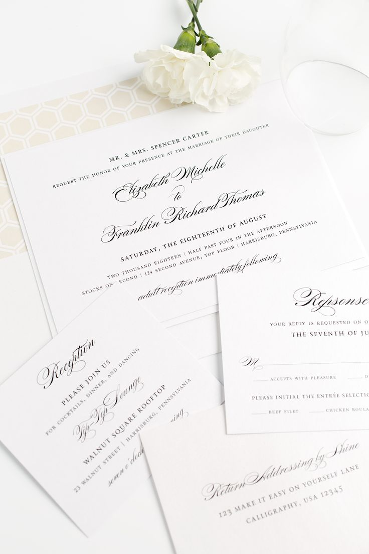 Elegant and Classic Champagne Wedding Invitations | Honeycomb Envelope Liner