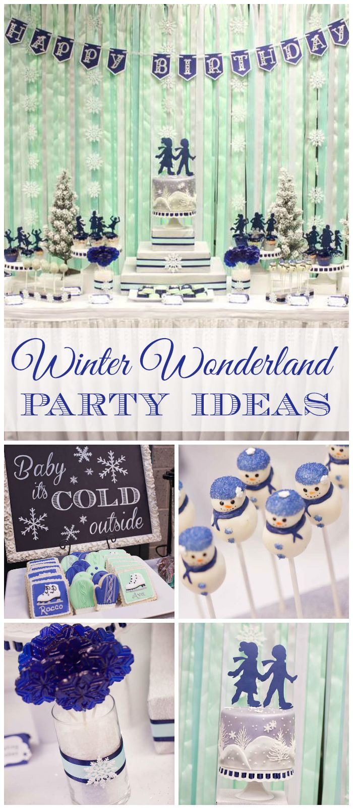 An amazing winter wonderland ice skating party for a girl and boy in mint, navy, and silver! See more party planning ideas at CatchMyParty.com!