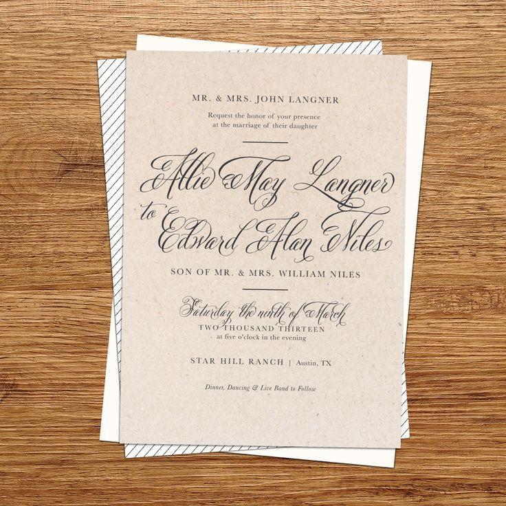tie the knot wedding invitations etsy%0A Rustic Kraft Paper Wedding Invitation by kxodesign on Etsy