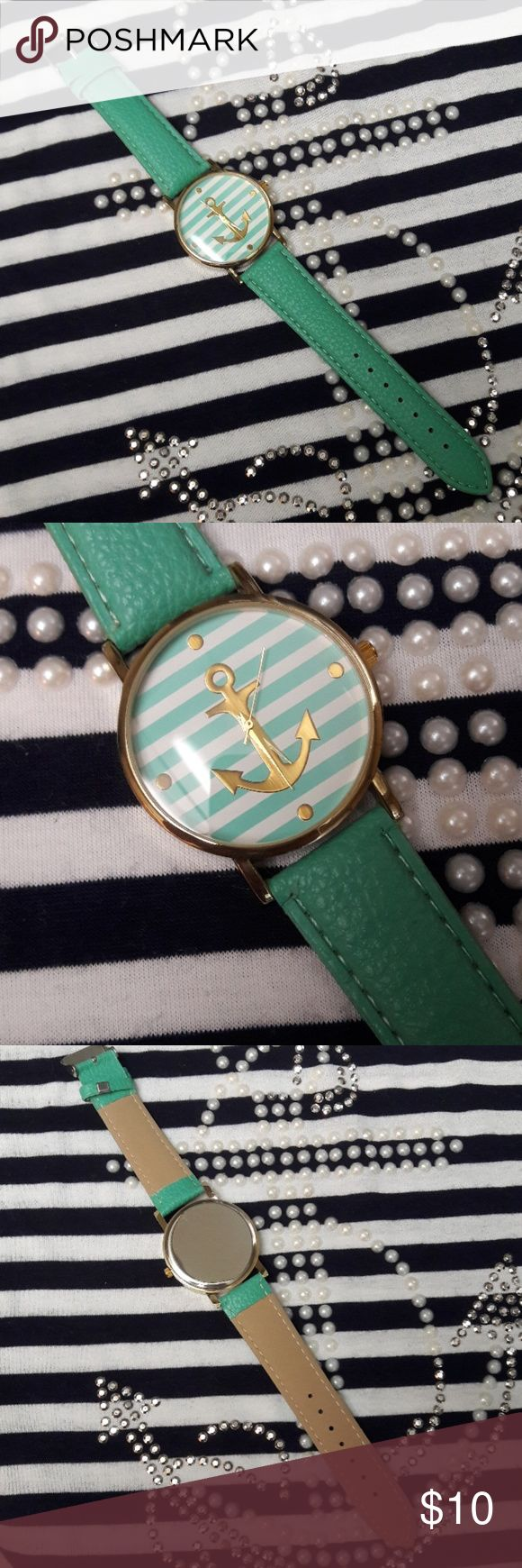 "New Mint Green Anchor Watch New in Package Mint Green Vegan Leather adjustable strap with 1 1/2"" round face (trendy larger size) stripped face with gold anchor.  Waiting to go on that cruise with you! Accessories Watches"