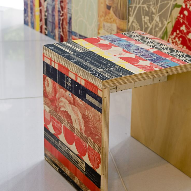 Hand Screen Printed Plywood seats or tables by Spacecraft Australia