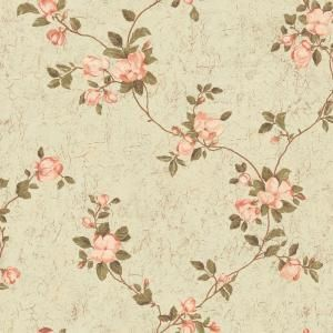 The Wallpaper Company 8 in. x 10 in. Peach and Green Magnolia Blossoms Wallpaper Sample-WC1280164S at The Home Depot