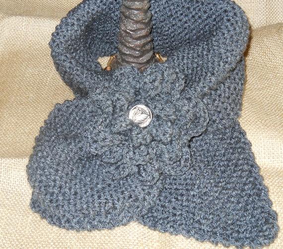 Hand Knitted Grey Scarf by Grandmaspleasures on Etsy, $20.00