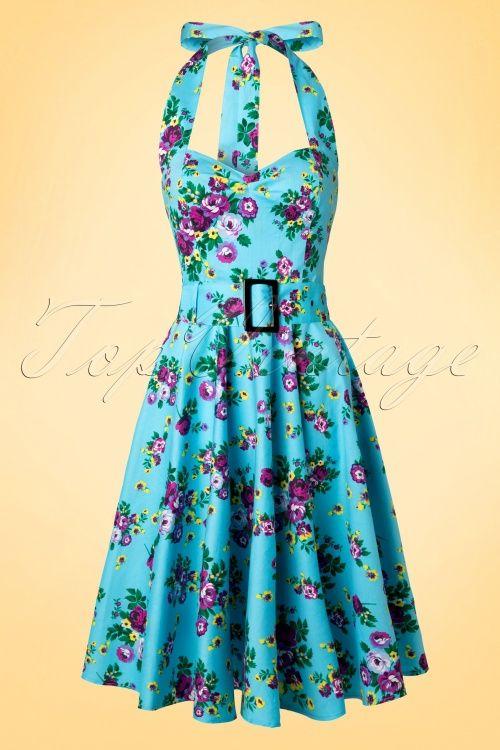 Hell Bunny Vixen 50s Blue Retro Halter Floral Swing dress blauw bloemen print paars jaren 50 vintage stijl jurk