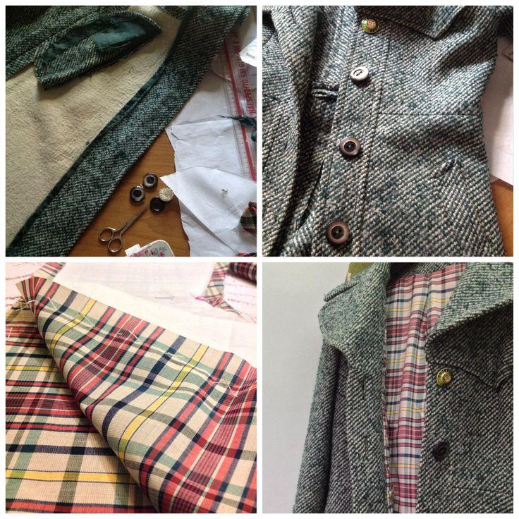 Sostituzione fodera cappotto vintage Anni60 + applicazione bottone gioiello