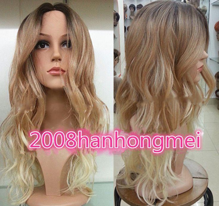 2015 Ladies Front lace Wigs Curly Long Wavy hair brown Golden Blonde mixed wig #New #FullWig