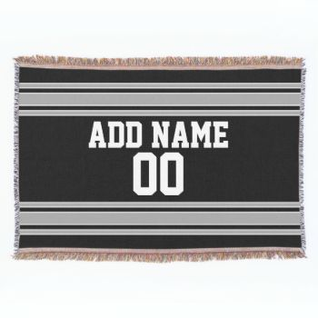 Add your favorite name and number -- This black and silver sports design is perfect for any professional, college or high school fan. You can even claim these for your Fantasy Football team. Click on the CUSTOMIZE button to make even more changes. #football #sports #fantasy #team #soccer #college #teams #athlete #national #men #league #nation #spirit #teen #boys
