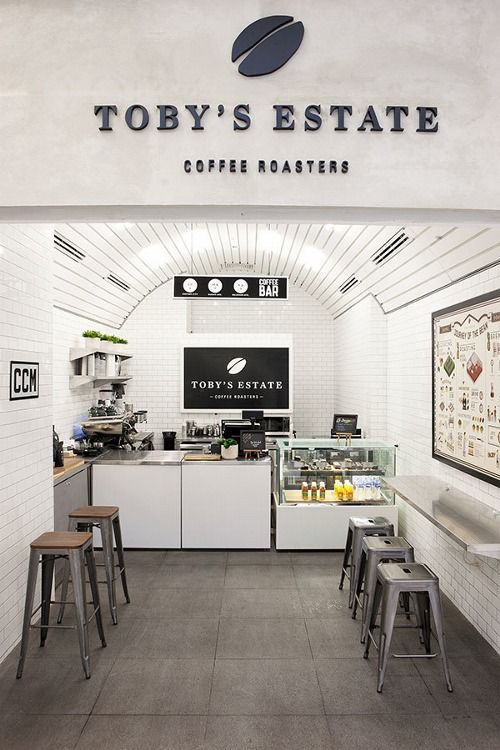 Toby's Estate Coffee Roasters | Brooklyn, NY The interior has been created to compliment the signage