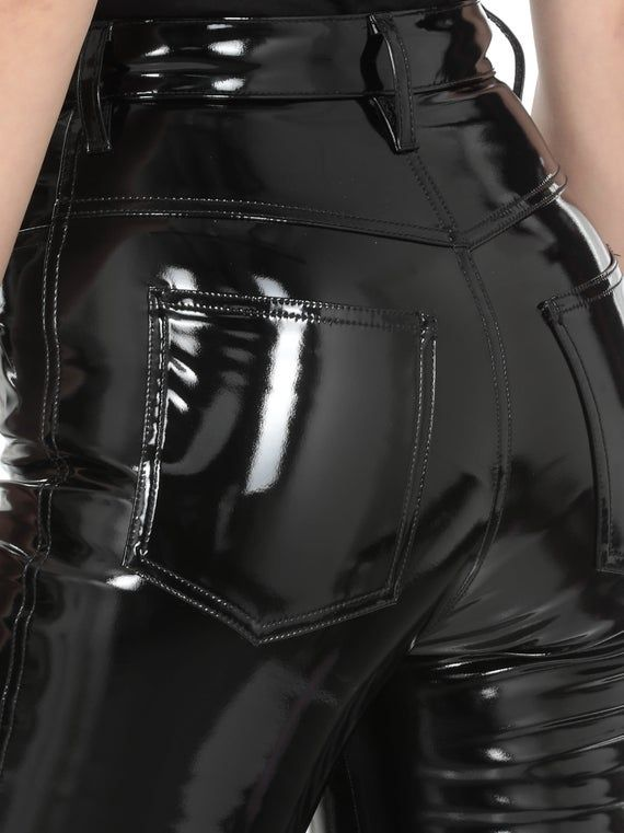 Wetlook Leggings schwarz schwarz Stretch Pants elastisch Gogo Kunstleder XS-XL