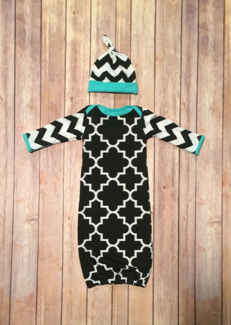 Baby gown, knot hat set, no scratch fold over mitts, going home outfit, newborn baby girl - aqua, black and white by JakeAndBeth on Etsy https://www.etsy.com/listing/264243279/baby-gown-knot-hat-set-no-scratch-fold