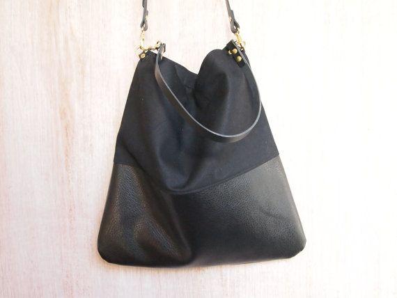 Cuir noir et noir Canvas Tote Bag HARRIS sac à par byHOLM sur Etsy