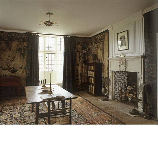 The Best Chamber of the 1665 parlour wing at Kelmscott Manor was hung with 17th-century Brussels tapestries in the 18th century. The room was used by the William Morris & his family as their sitting room.
