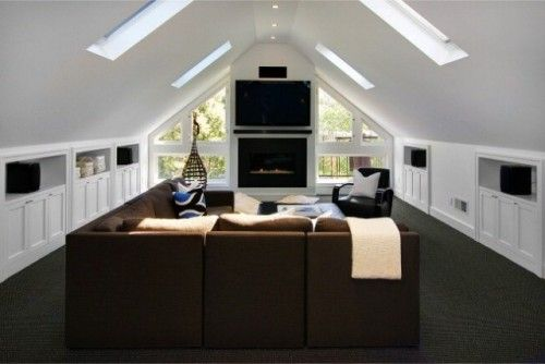 Carpet, skylights and brightness  contemporary media room by Ashley Roi Jenkins Design, LLC
