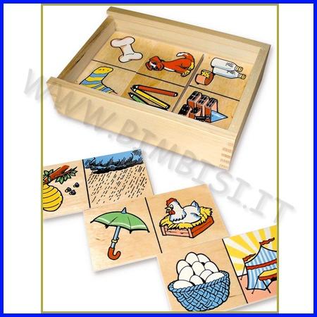 DOMINO DELLE RELAZIONI    La scatola in legno contiene 20 tessere (cm 6 x 12) che raffigurano ognuna due immagini.  Un divertentissimo gioco di relazione fra i vari soggetti, che affina le capacità logico-associative del bambino.    Codice: 106.04733