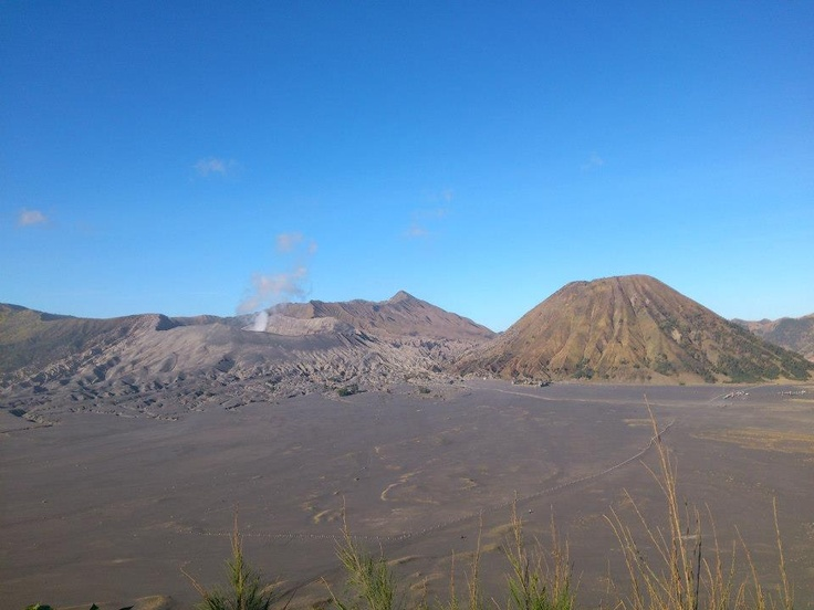 Mount Bromo and the sand desert, Probolinggo, East Java. The picture was taken using 5MP cellphone camera from Lava View Hotel & Lodge
