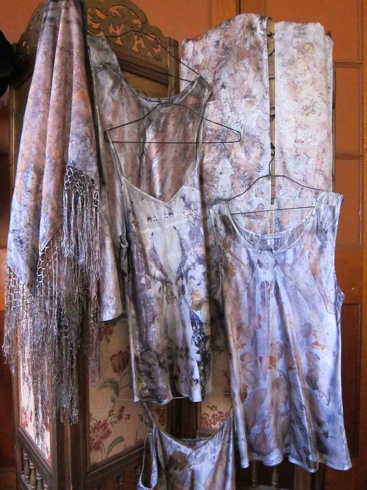 Botanical dye silk camisoles and scarves