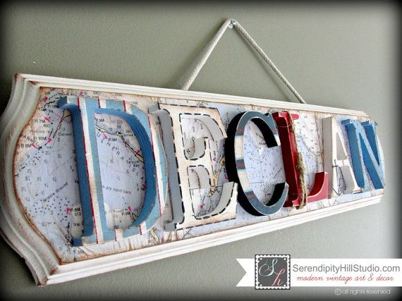Custom nautical themed name plaque  made to by SerendipityHillShop.  Coupon codes for friends on www.facebook.com/serendipityhillstudio