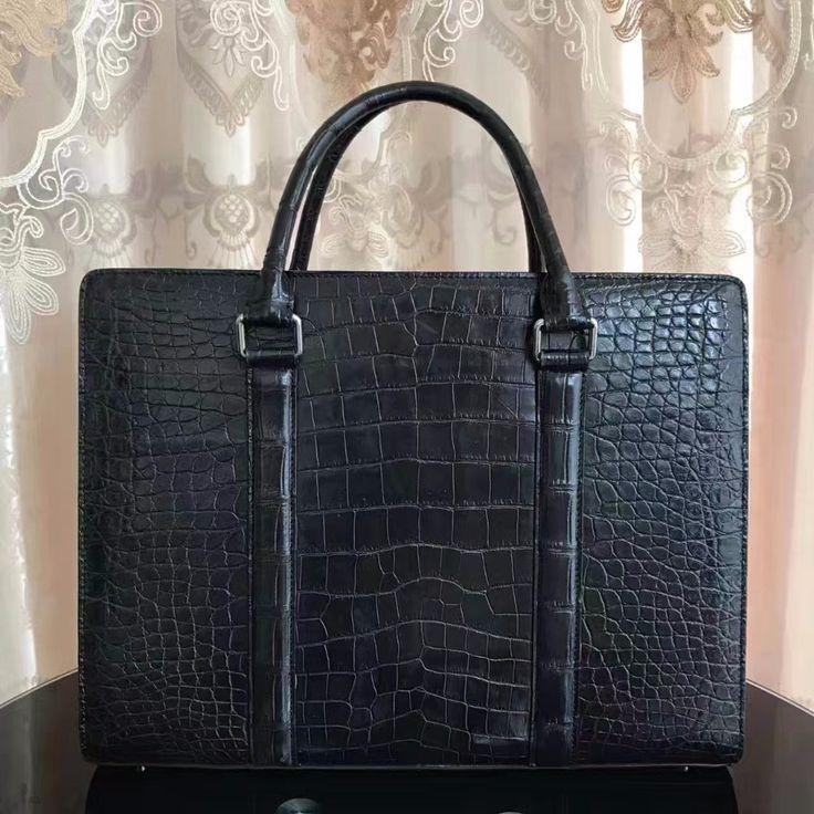 2017 men business bag black crocodile belly skin men briefcase bag,100% genuine crocodile leather skin men business laptop bag