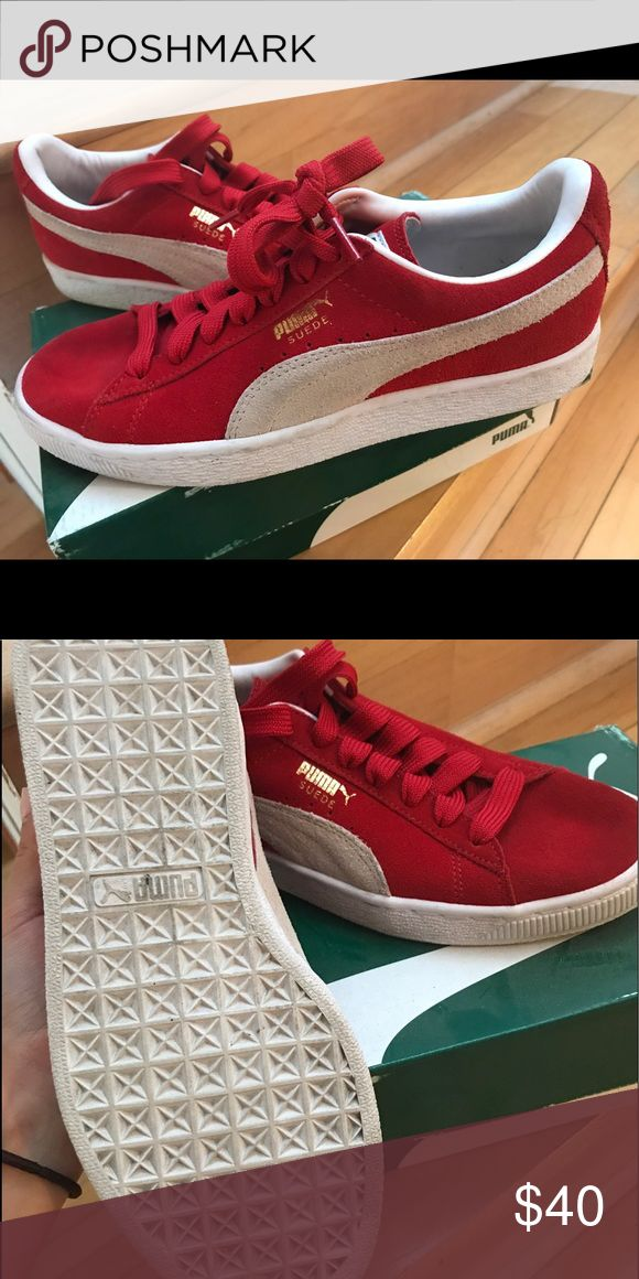 Red PUMAS suede classics Red Pumas only worn twice! Great condition. Suede with rubber soles Puma Shoes Sneakers