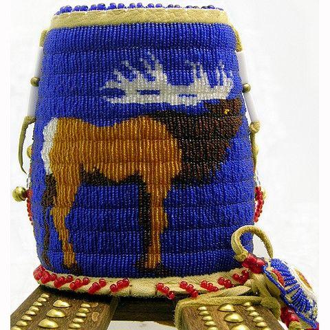 Beaded elk: detail of miniature cradleboard by Kevin Fast Horse, Lakota