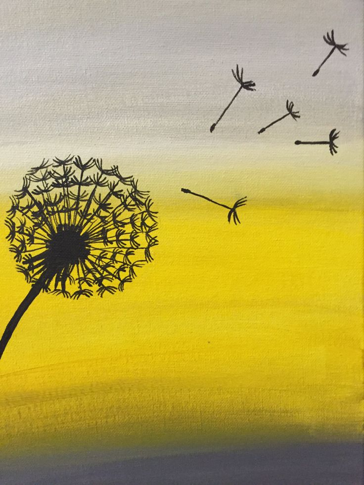 Dandelion Wishes - Acrylic original painting - yellow and grey by JustJezzie on Etsy