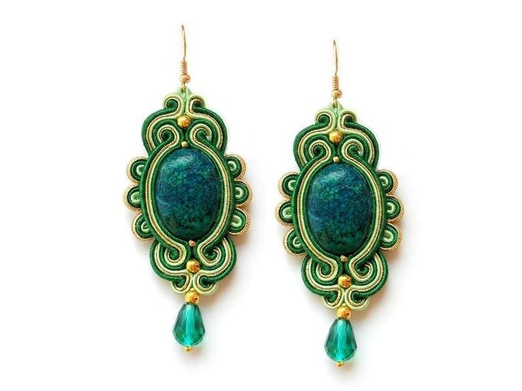 Pendientes Soutache chrysocolla esmeralda de Soutache Jewelry
