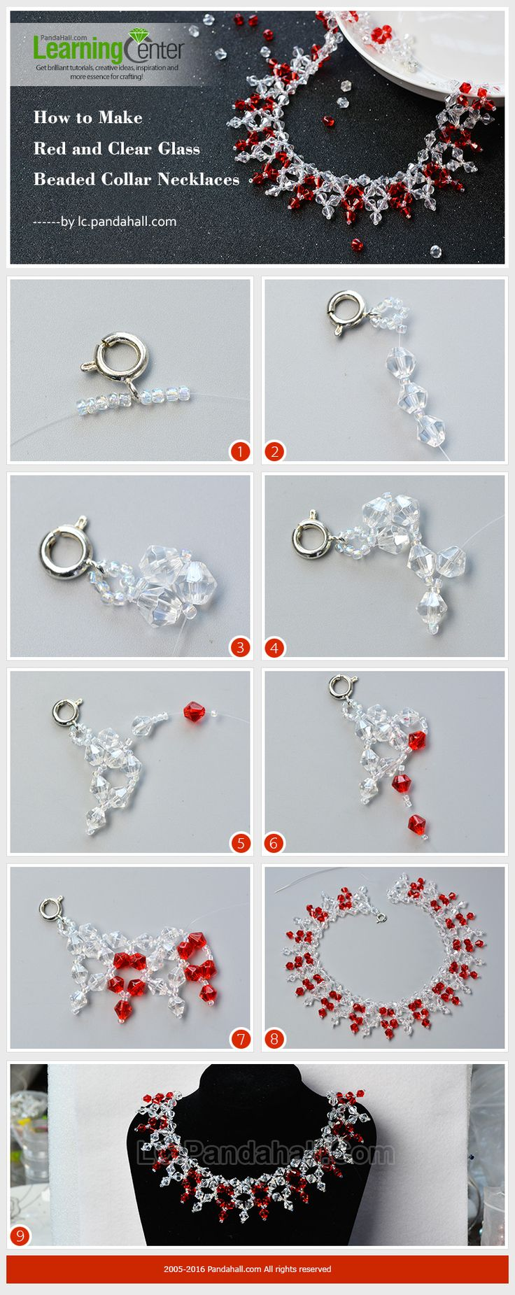 How to Make Red and Clear Glass Beaded Collar Necklaces from LC.Pandahall.com