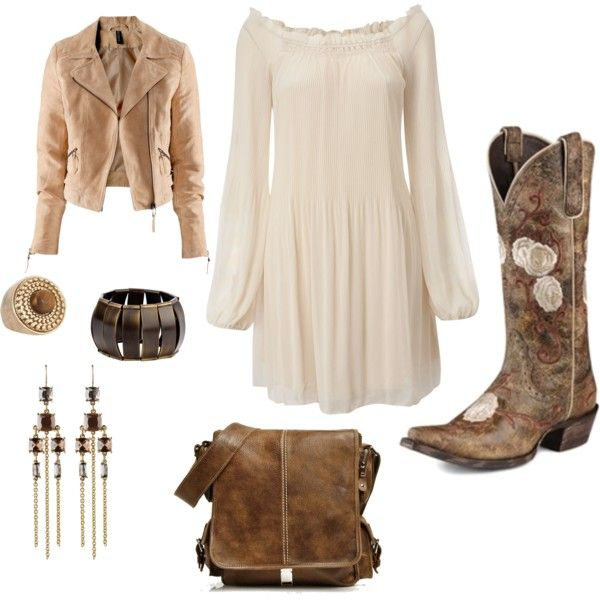 Dress with cowboy boots, created on Polyvore