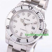 40 мм Bliger Мужские Автоматические Часы Белый Циферблат Керамический Ободок Наручные Часы Сапфировое Стекло Браслет Из Нержавеющей Стали Часы BA4002SW