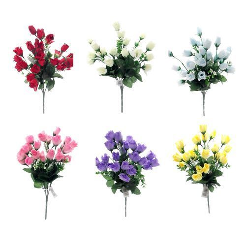 ARTIFICIAL SILK FLOWERS MINI ROSE BUD BUNCH 6 COLOURS Wedding Home Grave Outdoor