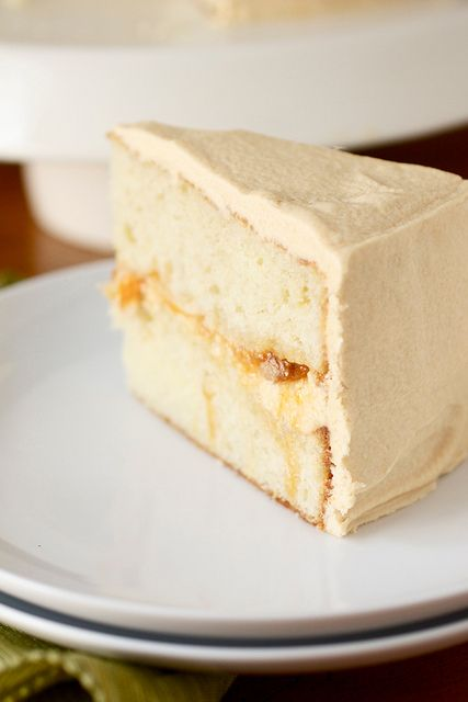 Peach Filled Cake with Dulce de Leche Buttercream Frosting by Smells Like Home