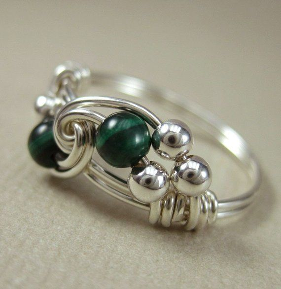 Malachite Ring Wire Wrapped Sterling Silver Duet — Any Size Etsy