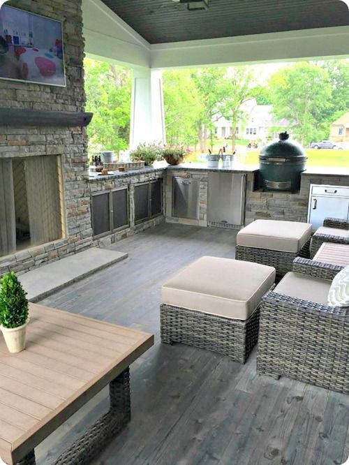 Get outdoor kitchen ideas from thousands of outdoor kitchen pictures. Learn about layout options, sizing, planning for appliances, cost, and more. #HomeAppliancesCover