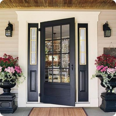 I think this is a DIY how to make a glass door tutorial or something but I stopped reading when I saw this pretty picture. Look at the door. Molding. Porch ceiling. Amazing!