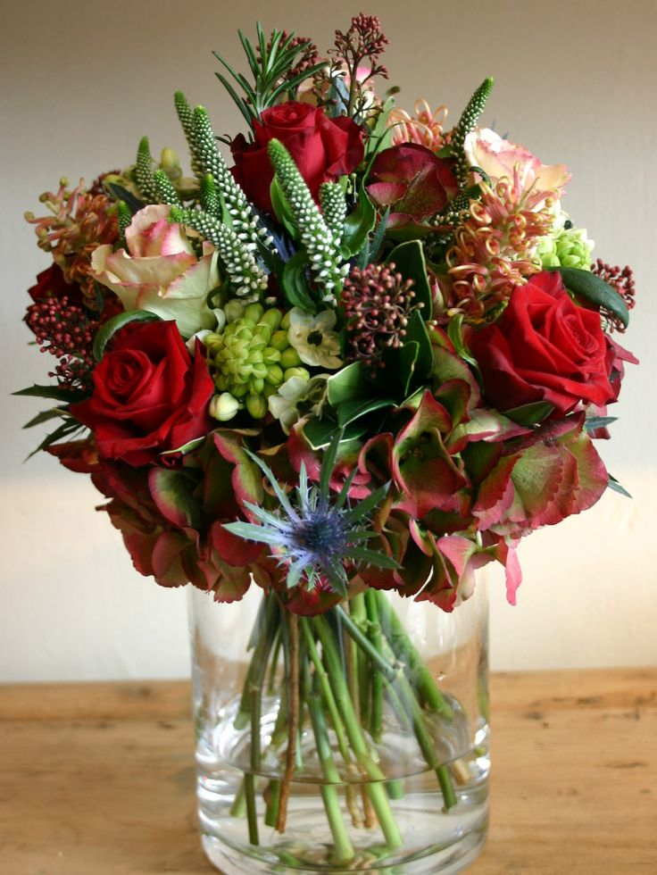 FLOWER SHOP STORIES: 365 DAYS OF FLOWERS red roses, hydrangea, peach roses photographed by Sally Page
