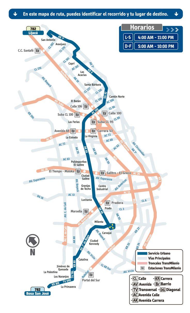 Resultado de imagen para rutas sitp 782 mapa