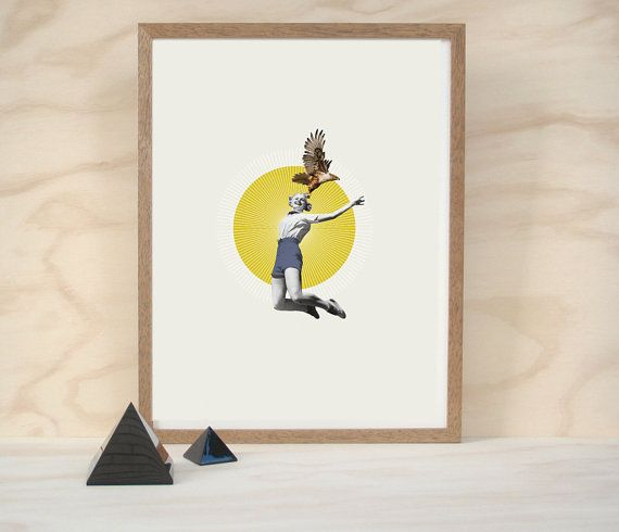 this wind (a3 vintage retro eagle animal sun yellow blue collage giclee art print) on Etsy, $62.09