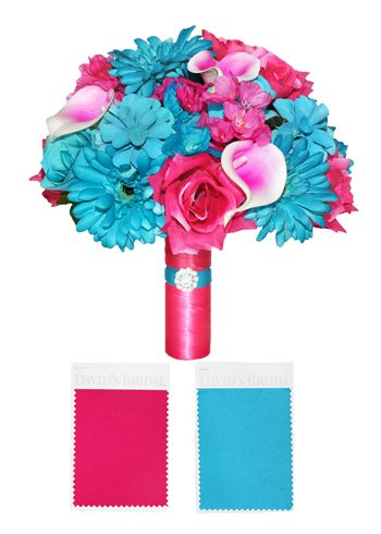 Bridal Bouquet Wedding Flowers in custom matching colors for Davids Bridal Malibu Blue and Begonia, with Hot Pink and Turquoise bridal handle