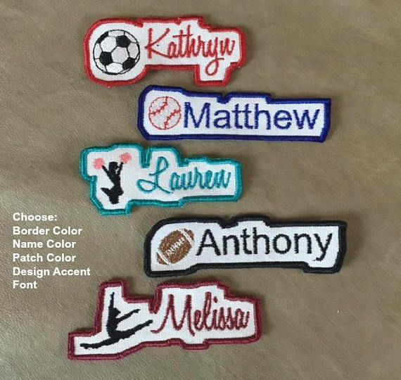Cute Border NAME PATCH  Iron On  Applique Patch Soccer