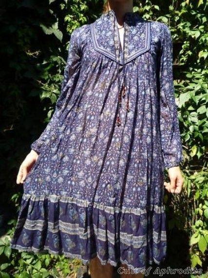 Vintage 70s Ethnic India GAUZE Maxi HIPPIE boho Dress