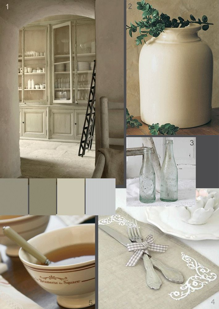 Glorious rustic French kitchens - soft plaster walls, pretty linen and soft chalky tones -The Paper Mulberry: The French Country Kitchen
