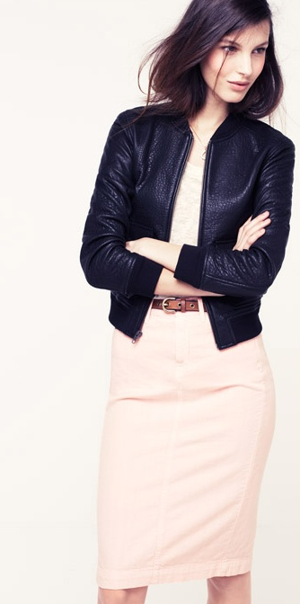 Leather Bomber, madewell.com: Pastel Cerveza Tennis, Pastel Pink, Minimal Style, Pale Pink, Dresses, Edgy Pastel, Pencil Skirts, Work Outfits, Black Leather Jackets Work